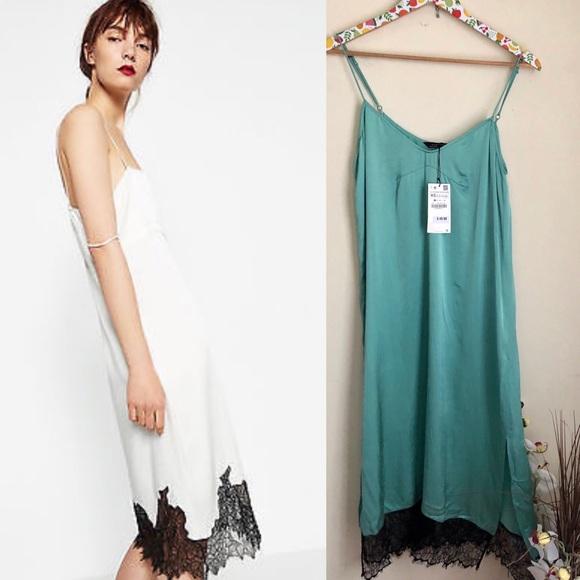 431361a7eeb5 Zara Dresses | Nwt Satin Slinky Slip Dress Black Lace Midi | Poshmark
